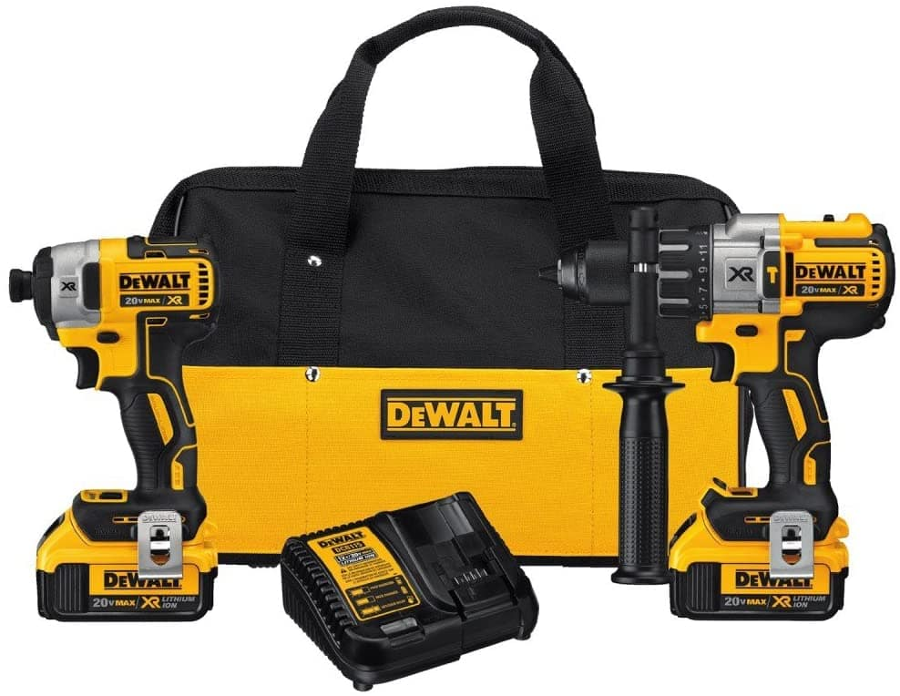 DEWALT 20V MAX XR Brushless Impact Driver and Hammer Drill Combo - Includes two 4.0Ah batteries - Amazon $245.88
