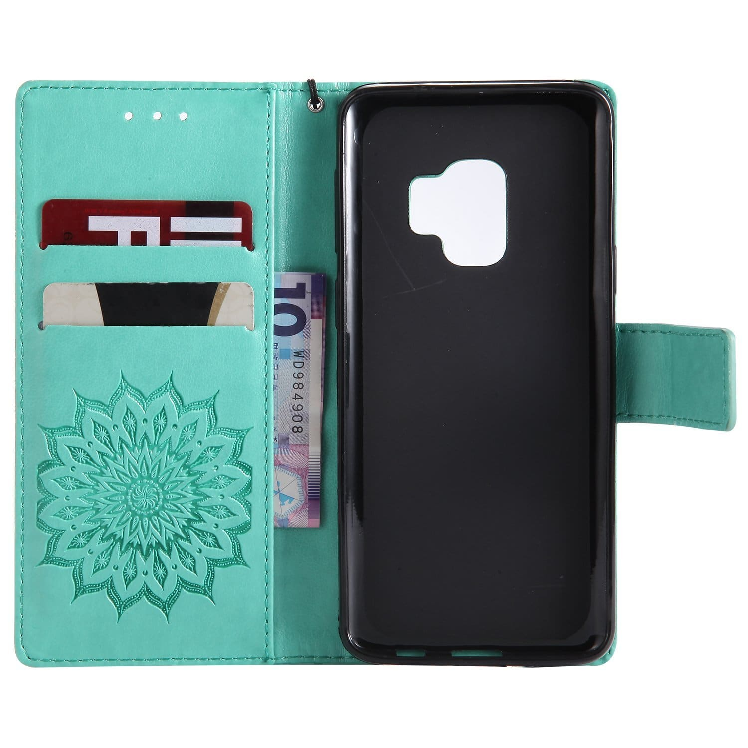 Galaxy S9 Wallet Case, SMYTU Premium Emboss Sunflower Flip Wallet PU Leather Magnetic Cover with Wrist Strap (Green) $4.39