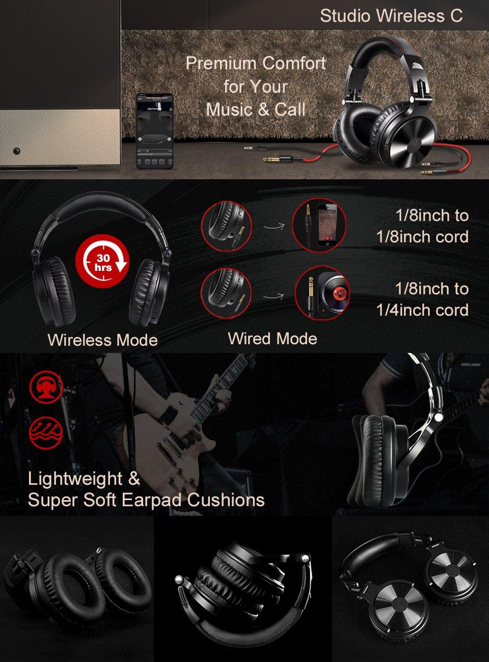 Wireless/Wired Over Ear Headsets, 30 Hrs Studio Bluetooth Headphones $24.99 (reg. $39.99)