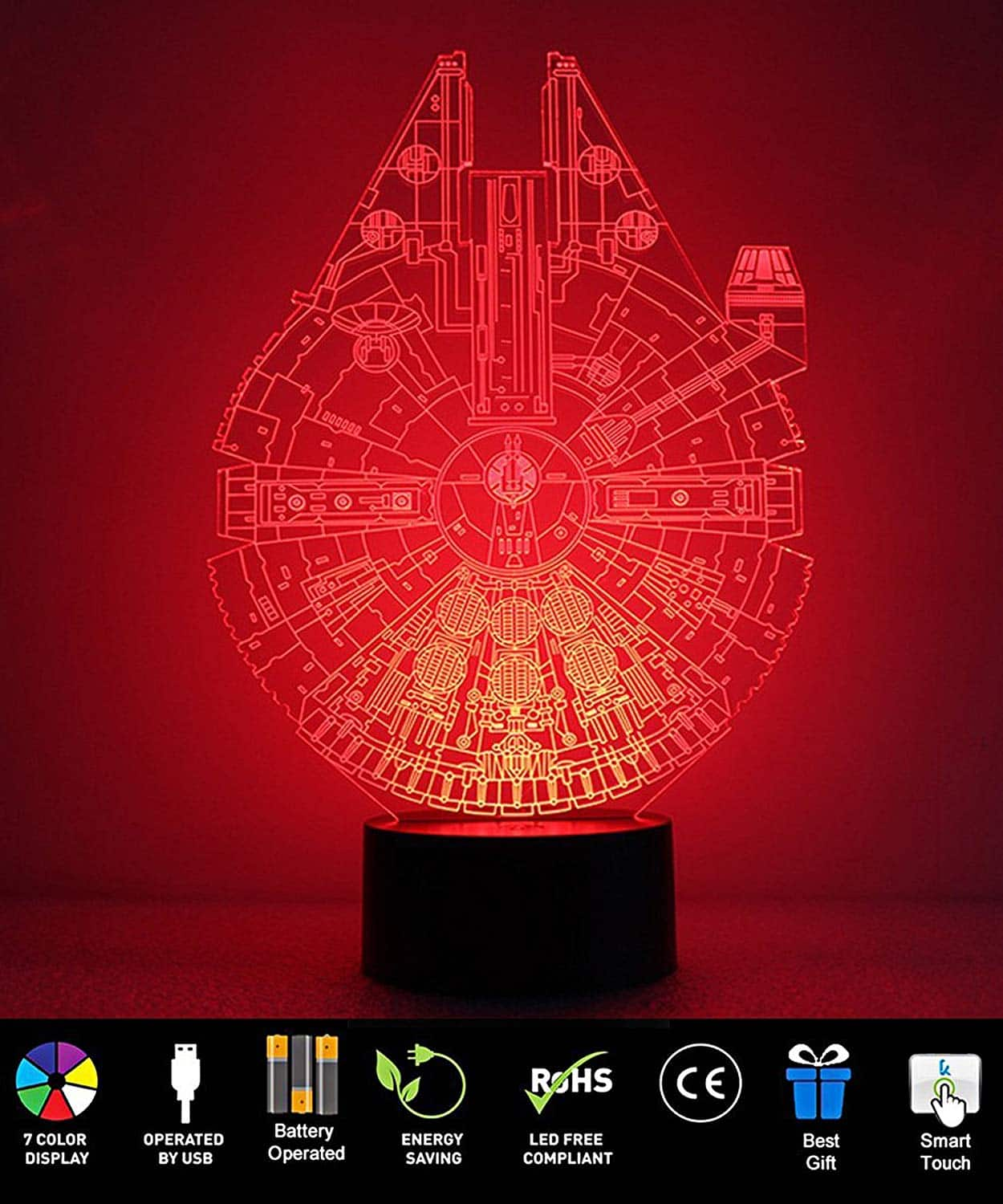 50%OFF Millennium Falcon Night Light 3D Illusion 7 Color Multicolored Changing w USB Powered Table Desk Lamp for Children Bedroom, Home Decor $6.49
