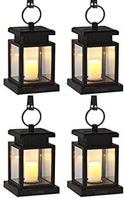 Solar Lights Outdoor Hanging Solar Lantern 4 Pack, Solar Garden Lights for Patio Landscape Yard, Warm White Candle Flicker, Auto Sensor On Off $28.07