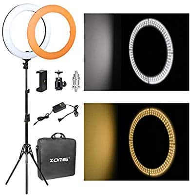 """ZOMEi 14"""" LED Ring Light Dimmable for Video Youtube Portrait and Photography Lighting with Heavy Duty Light Stand $62.99"""