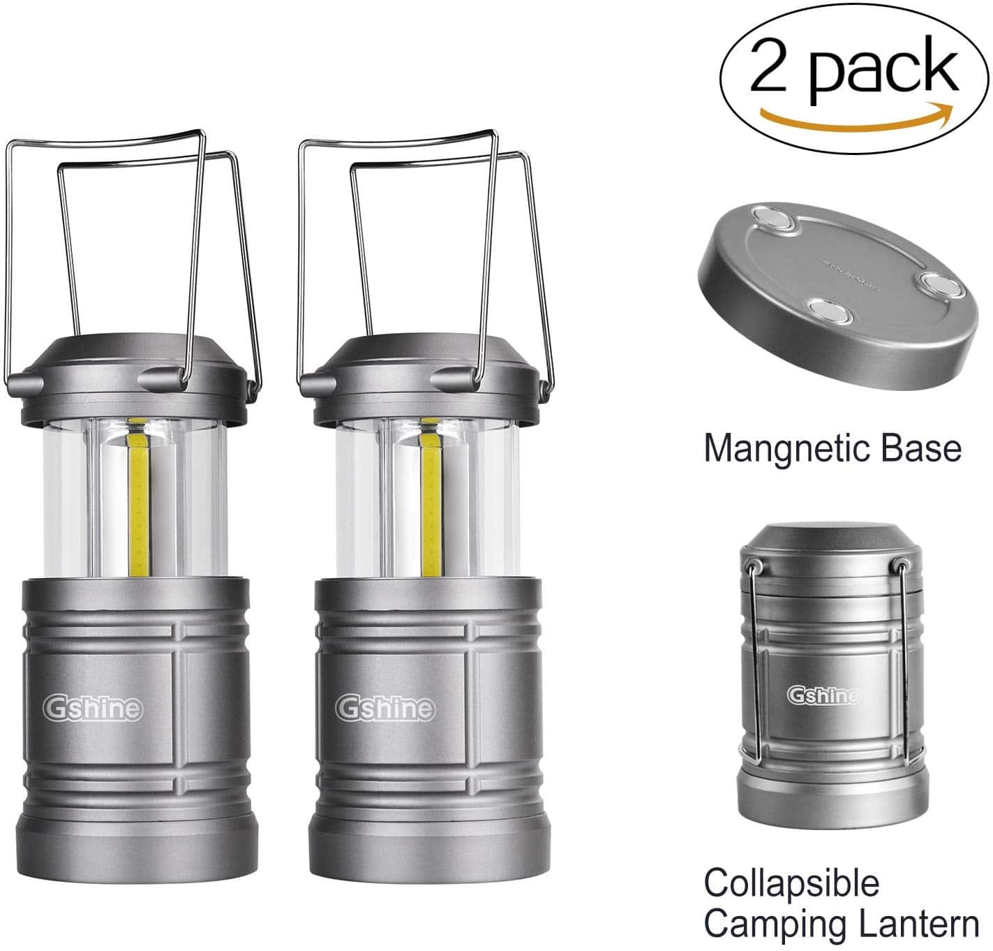 [Amazon] Camping Lantern Battery Powered LED Lantern with Magnetic Base (Pack 2) $9.99