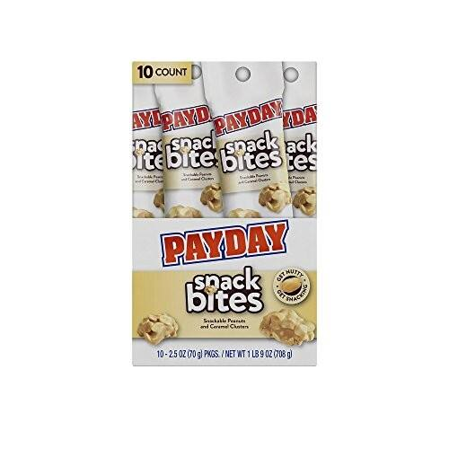 PAYDAY Snack Bites (Peanut and Caramel Clusters), 2.5 Ounce Tubes (Pack of 10) $5.38