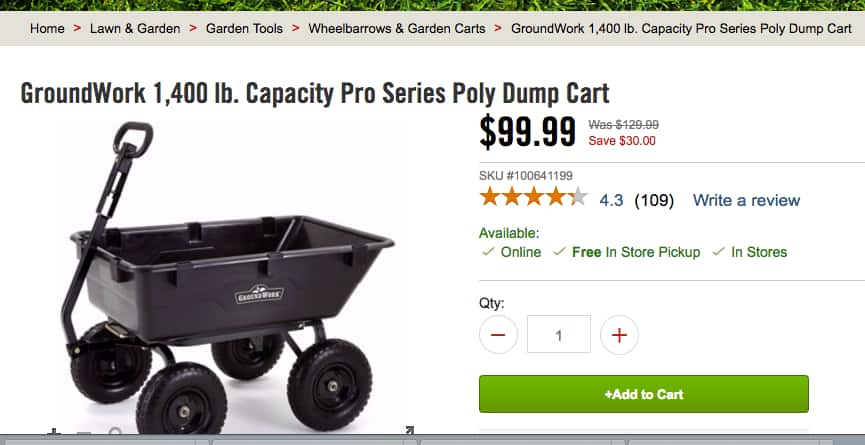 GroundWork 1,400 lb. Capacity Pro Series Poly Dump Cart $99 + free in-store pickup @ Tractor Supply YMMV