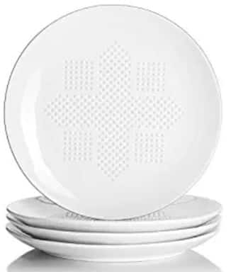 9 inch Porcelain Oil Absorbing Plates for Heal Eating (Set of 4, White) $8.09