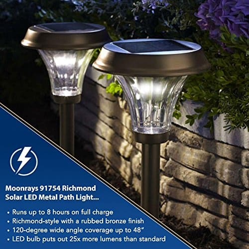 Moonrays 91754 Richmond Solar LED Metal Path Light, Rubbed Bronze (Pack of 2) From Amazon for $23.07