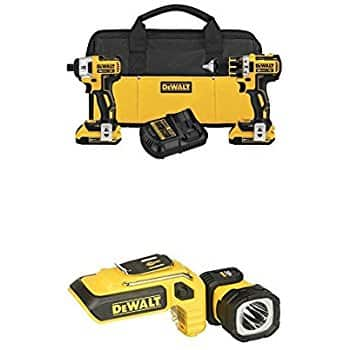 DEWALT 20V Max XR Lithium Ion Brushless Compact Drill/Driver & Impact Driver Combo Kit with 20V Max LED Hand Held Work Light - Amazon $216 $216.57