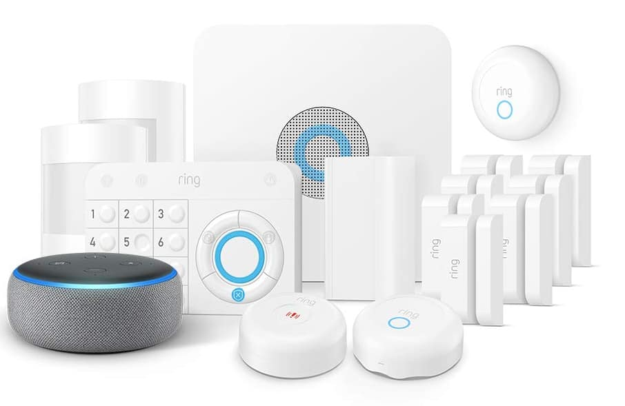 Ring Alarm Enhanced 14 piece Protection Kit + Echo Dot (3rd Gen), Works with Alexa $214