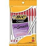 BIC Cristal Xtra Smooth Ball Pen, Medium Point (1.0 mm), Red, 10-Count $1.17 sss eligible @ amazon