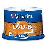 Verbatim 4.7 GB up to 16x Branded Recordable Disc AZO DVD-R 50-Disc ... $9.22 or Verbatim 4.7 GB up to 16x Branded Recordable Disc DVD+R ... $21.99 ac / sss eligible @ amazon