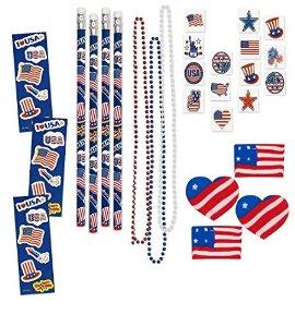 156 Piece Mega Patriotic Toy Novelty Assortment; 72 Patriotic Glitter Tattoos, 12 Patriotic Necklaces, 12 Patriotic Pencils, ... $11.95 ac / sss eligible @ amazon