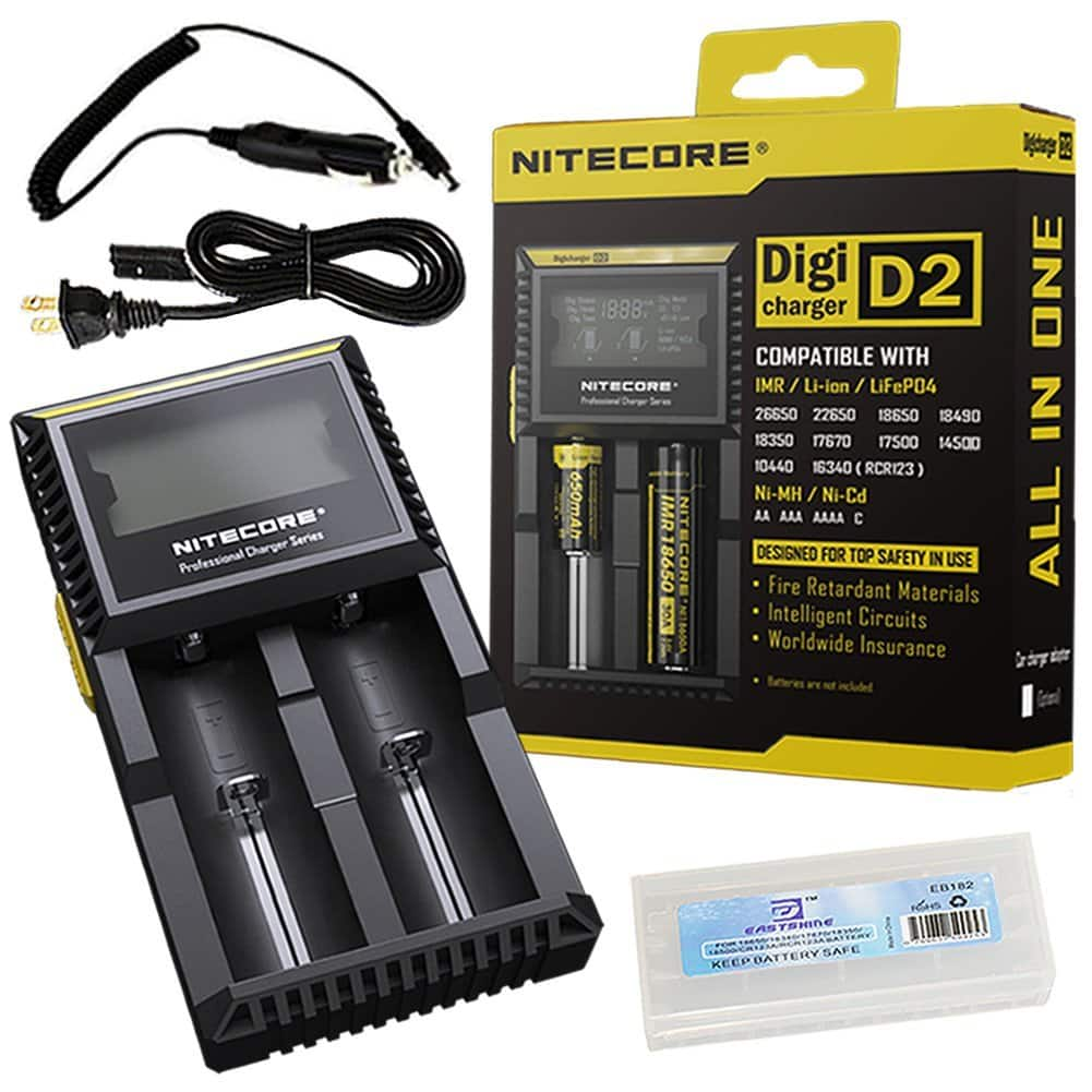Bundle:Nitecore D2 Charger 2015 New Smart Universal Charger with EASTSHINE EB182 Battery Box Car Adapter $14.99 sss eligible @ amazon