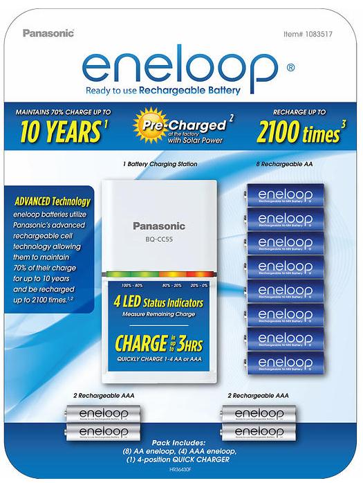 Panasonic Eneloop Rechargeable Battery Kit / 8 AA + 4 AAA + charger $23.99 @ costco B&M !