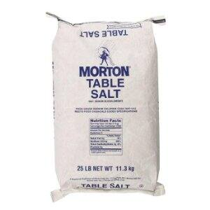 Morton Table Salt, 25 Pound $5.69 add on item @ amazon