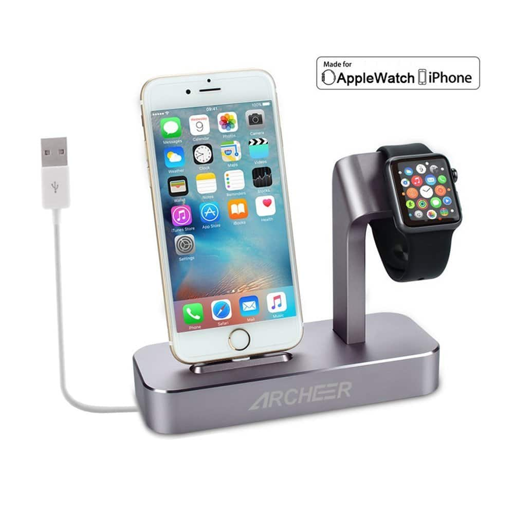 Archeer 2 in 1 Apple Watch Stand and iPhone Charging Dock Station ... for iPhone / apple watch (Lightning cable Included) $23.99 or 4 in 1 iWatch / iPhone $34.49 ac / fs @ amazon