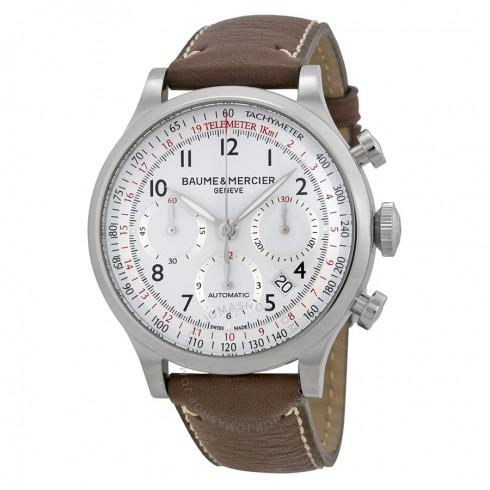 Baume and Mercier Capeland White Dial Chronograph Men's Watch $1575 ac / fs @ js