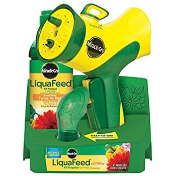 Miracle-Gro LiquaFeed Advance Starter Kit with Garden Feeder, 16 oz. Bottle of LiquaFeed All Purpose Liquid Plant Food, and Dosing $3 add on item @ amazon