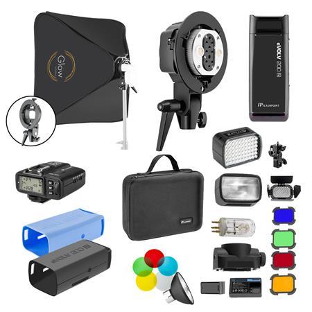 Flashpoint eVOLV 200 TTL Pocket Flash Kit / Twin Head, Bare Bulb/Speedlite, Softbox, Barn Door, Gel Filters, reflector, Bl & Bk Skin and R2 TTL Transmitter $399 fs @ adorama