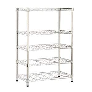 Honey-Can-Do 4-Tier Steel Wire Urban Wine Bottle Rack, Chrome $24.27 sss eligible @ amazon