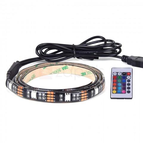 "35.4"" 5V 30 RGB LED TV Backlight Strip Light with Remote Control $6 fs @ zapals"
