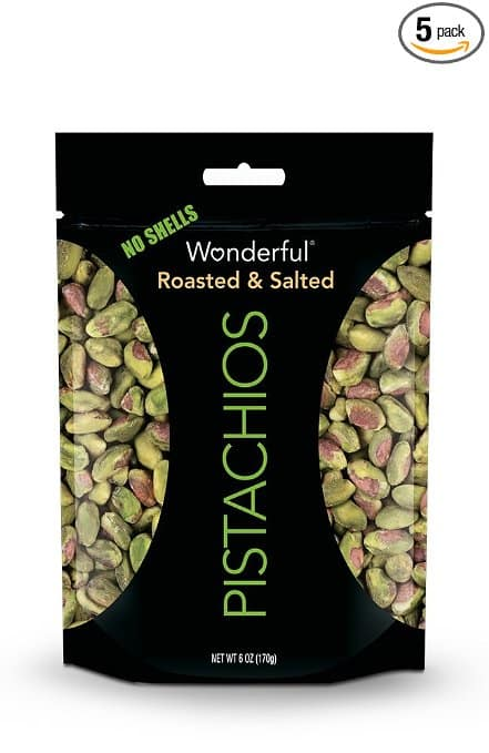Wonderful Pistachios, No-Shell, Roasted and Salted, 6 Ounce Pouch (Pack of 5) $15.25 fs w/s&s @ 15% @ Amazon