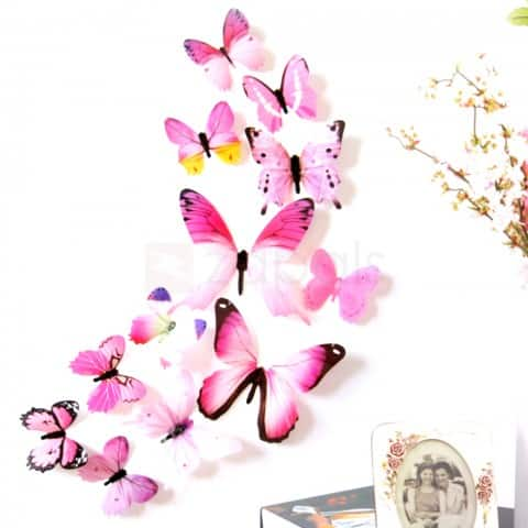 12PCS 3D Butterfly Wall Sticker Decals Wall Decor - Random Color $0.20 ac / shipped @ zapals