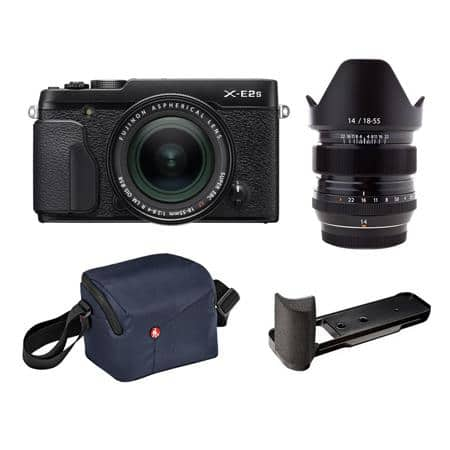 Fujifilm X-E2S Mirrorless with 18-55mm OIS Lens and XF 14mm F2.8 R Lens Black + grip and Manfrotto NX Shoulder CSC Bag $1199 fs @ adorama