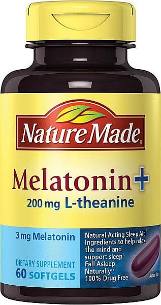 Nature Made Melatonin + with 200 Mg L-theanine, 60 Count $4.39 add on item @ amazon