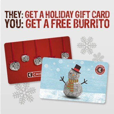 FREE burrito, bowl, or tacos when you buy a $30 gift card at Chipotle