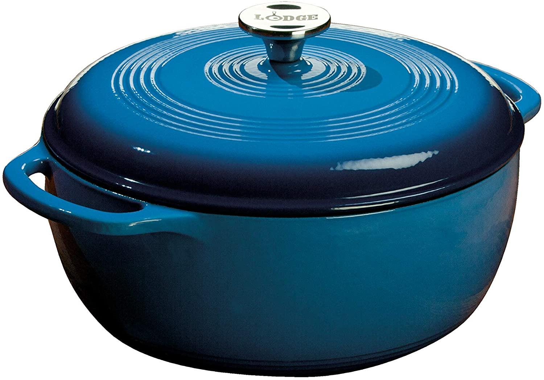 Amazon.com: Lodge 6 Quart Enameled Cast Iron Dutch Oven. Blue Enamel Dutch Oven (Blue): Kitchen & Dining $59.99