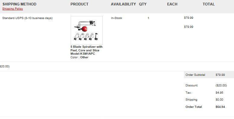 KitchenAid 5-Blade Spiralizer with Peel, Core, & Slice $64.94