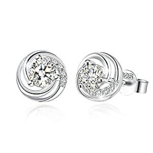 """J.Rosée Women's Jewelry 925 Sterling Silver """"Spiral love"""" Stud Earrings 5A Cubic for $9.52  @ Amazon"""