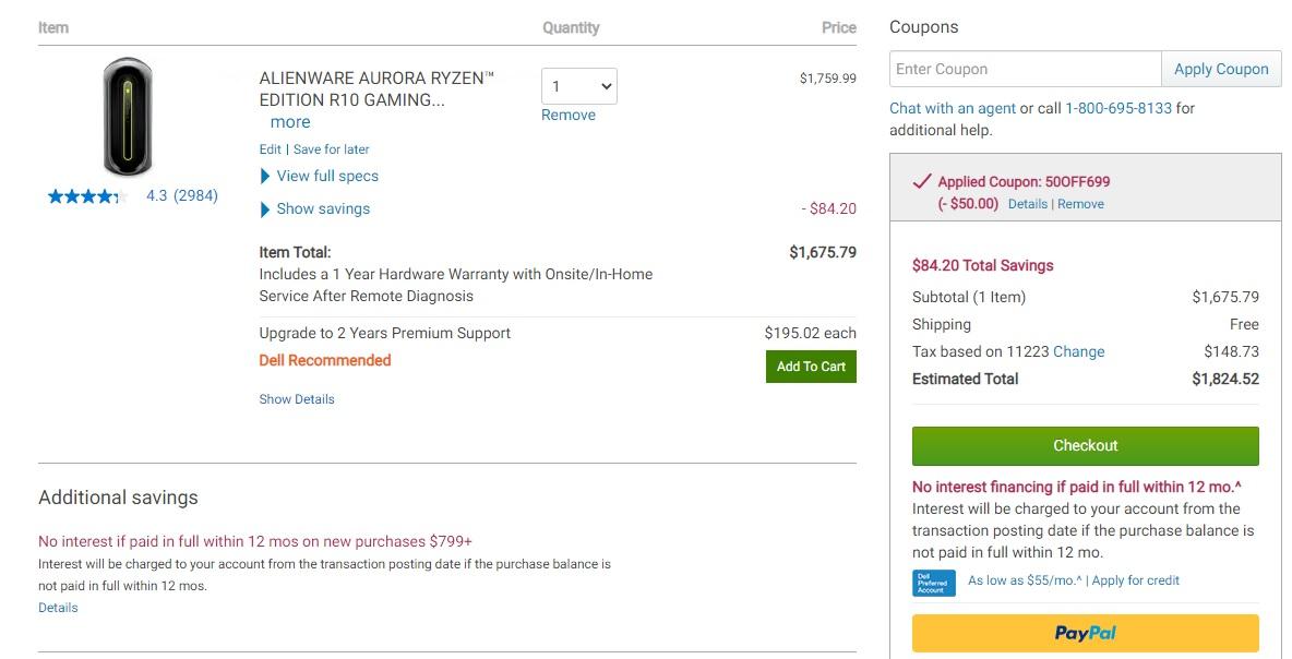 Alienware Aurora R10 Desktop: Ryzen 5 5600X, 8GB DDR4, 1TB SATA HDD, RX 6800 XT, 1000W PSU, $1676 (or $1552) @ dell