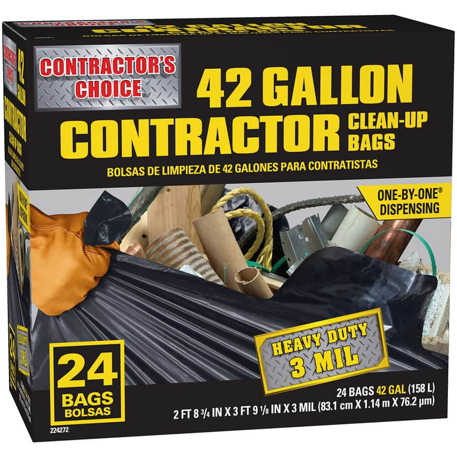 42 gallon 3mil 24 pack contractor grade trash bags..$8.98( or less)...Lowes...today(6/24/16) ONLY