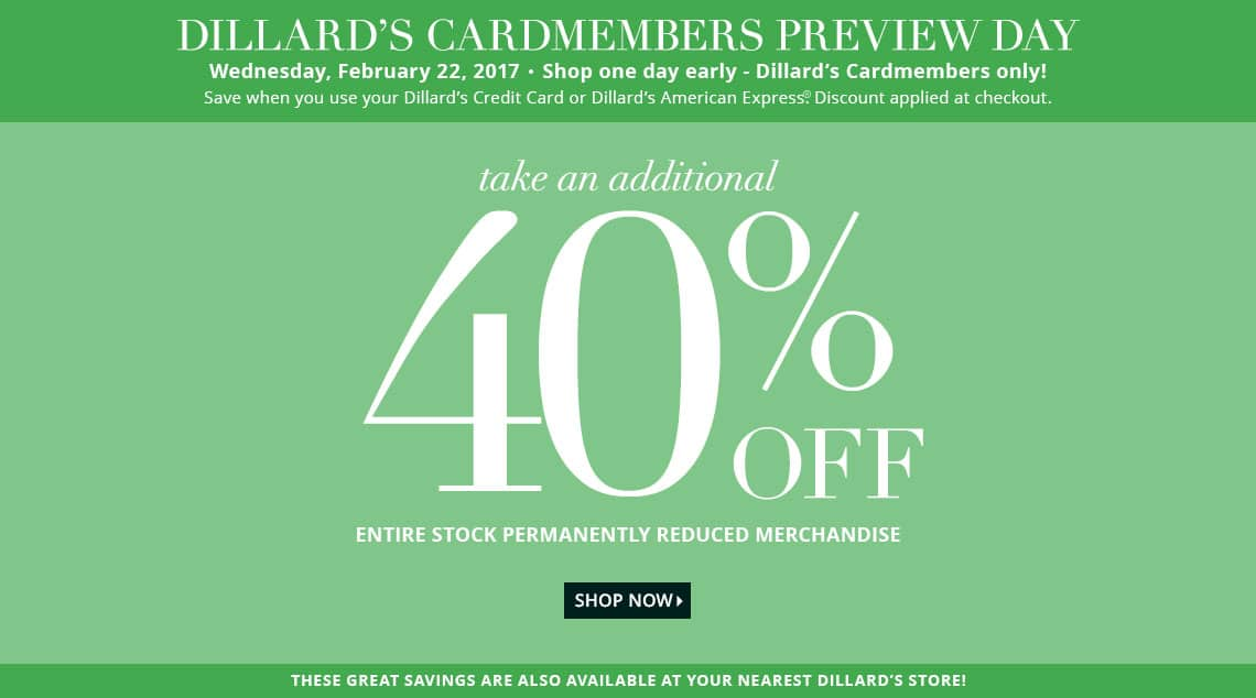 Extra 40% off Clearance Merchandise at Dillards..in store and ...