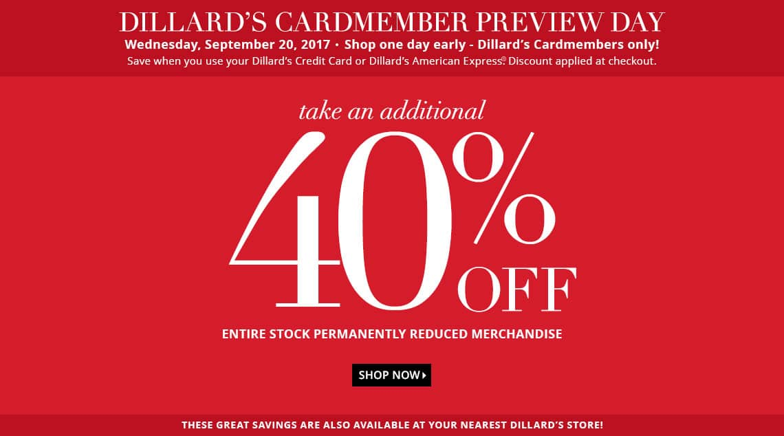 Dillards extra 40% off clearance merchandise in store and online