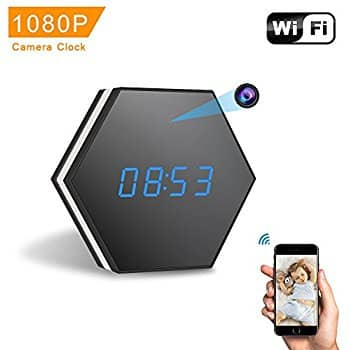 Alarm clock with wireless camera 1080P,  night vision, and 2 way audio  $45.99 at amazon with prime