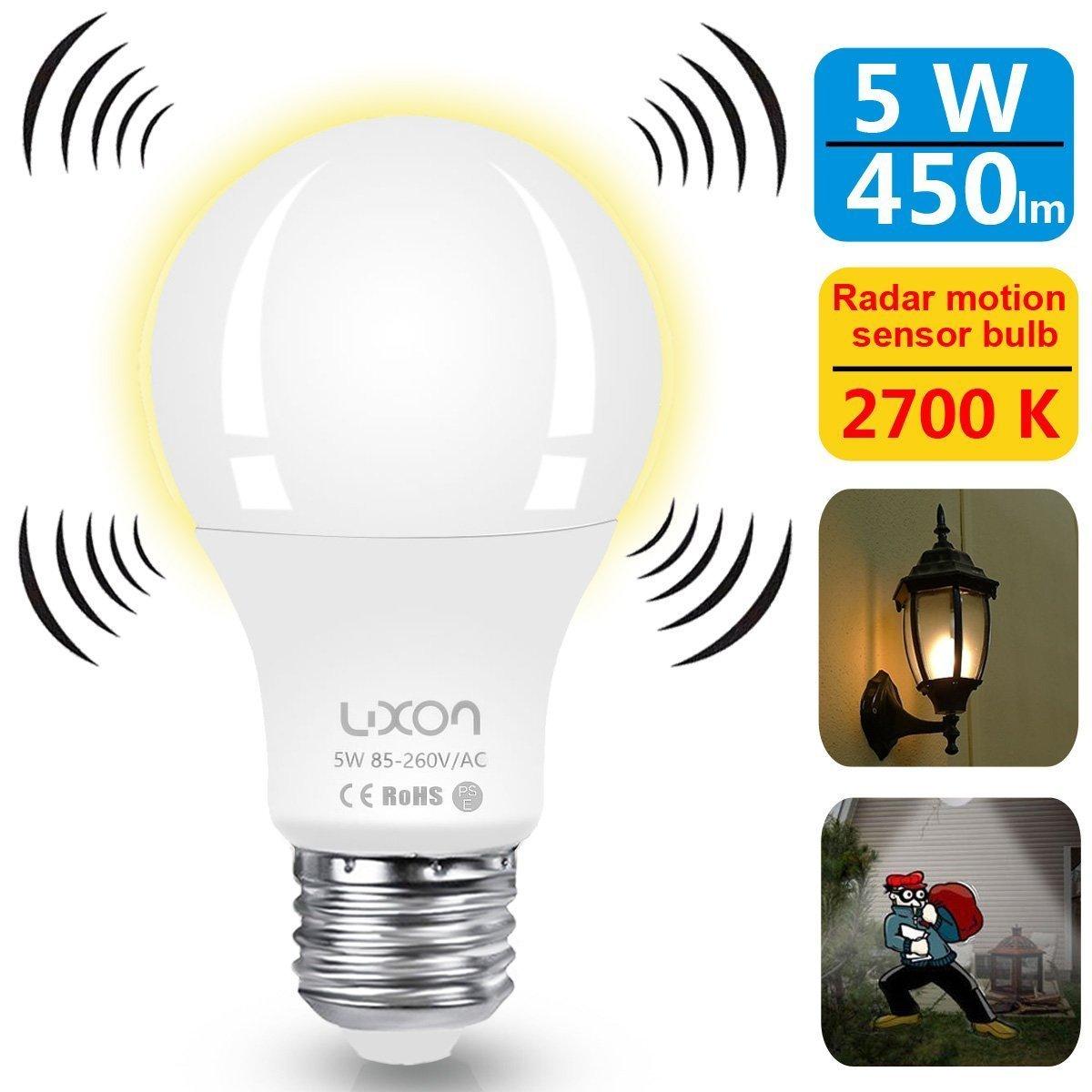 5 watt led bulb radar motion detector soft white 450 lumens $6.99 amazon prime