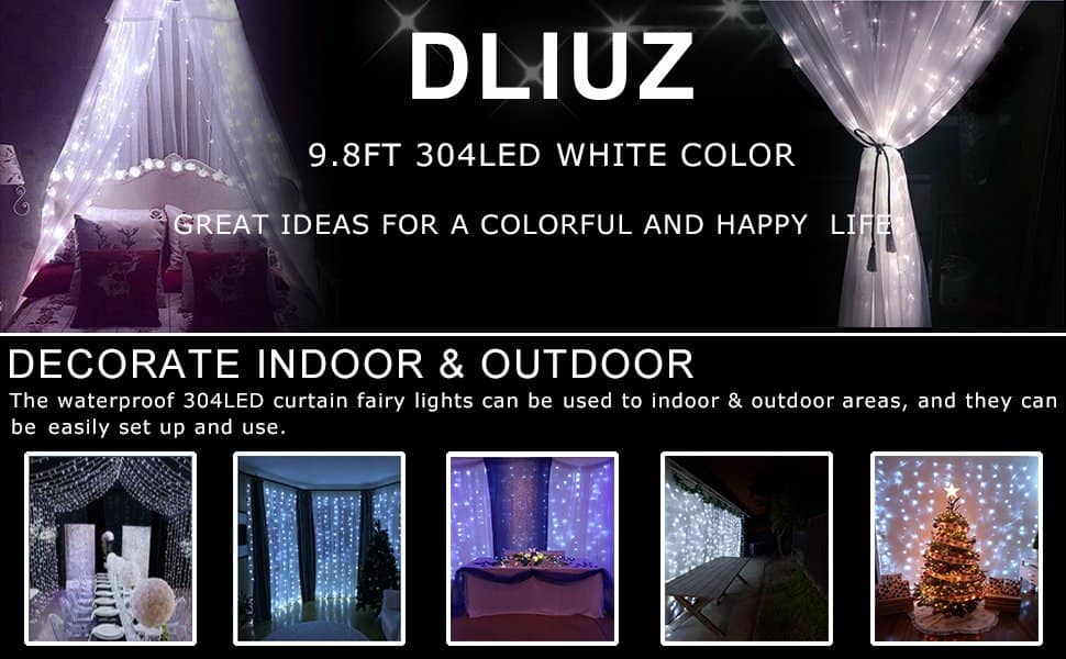 300 led 10ft curtain string lights warn white or cool white $10.67 amazon