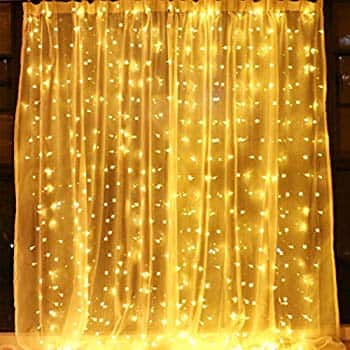 9.8 x 9.8 Feet 304 LED Curtain Lights with 8 modes $10.51 amazon prime