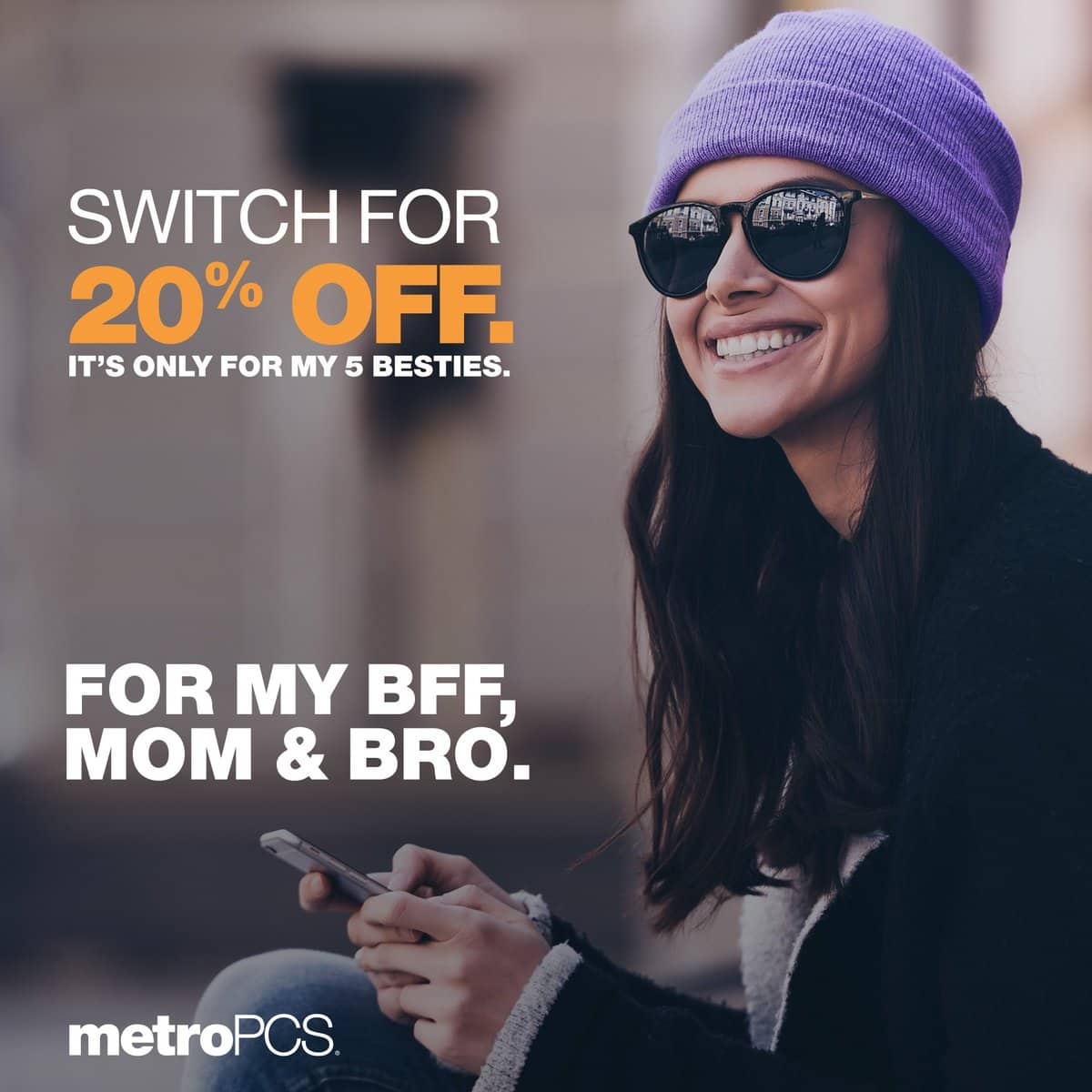 MetroPCS: Switch and 20% Off Monthly Plan Discount for LIFETIME + FREE phone(s)