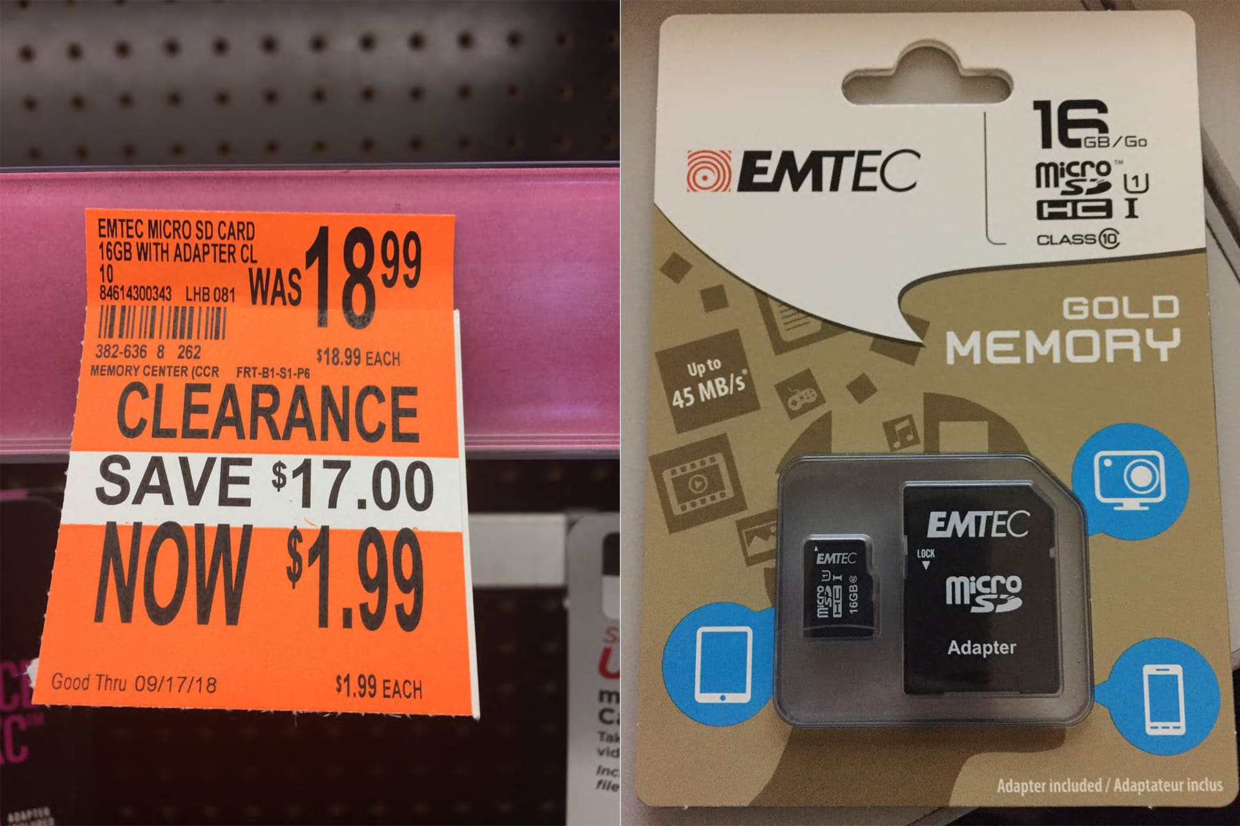16gb Micro SD card with adapter $1.99 clearance Walgreens YMMV
