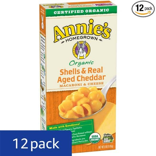 Annie's Organic Macaroni and Cheese, Shells & Aged Cheddar Mac and Cheese, 6 oz Box (Pack of 12) $5.54 ac and s&s w/prime