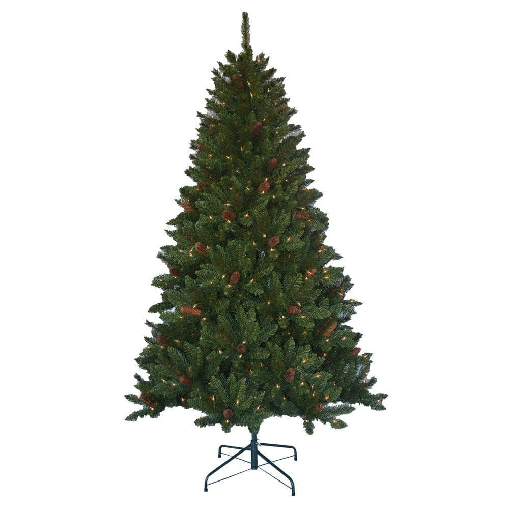 6.5' Jackson Spruce Artificial Pre-lit Christmas Tree w/ Pinecones ...