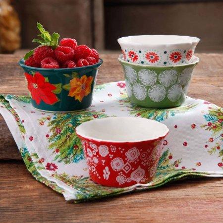 Walmart Pioneer Women's Stoneware: 8 Pc Holiday Ruffle Top 7oz Bowls $8.88 + Free Store Pick Up
