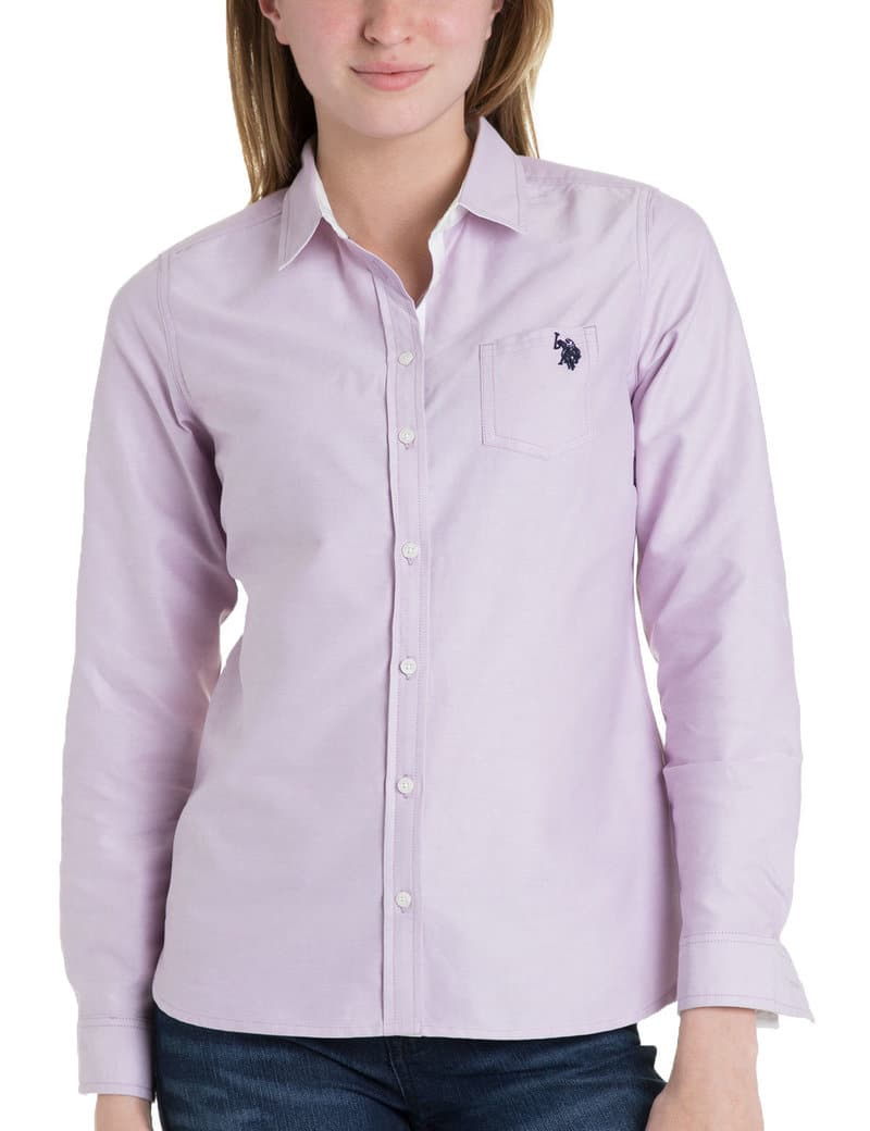 U.S. Polo Association Women's 100% Cotton Solid Pocket Oxford $12 - Various colors + Free S/H