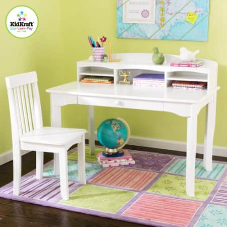 KidKraft - Avalon Desk Set with Hutch and Chair, White $89.50 + Free S/H