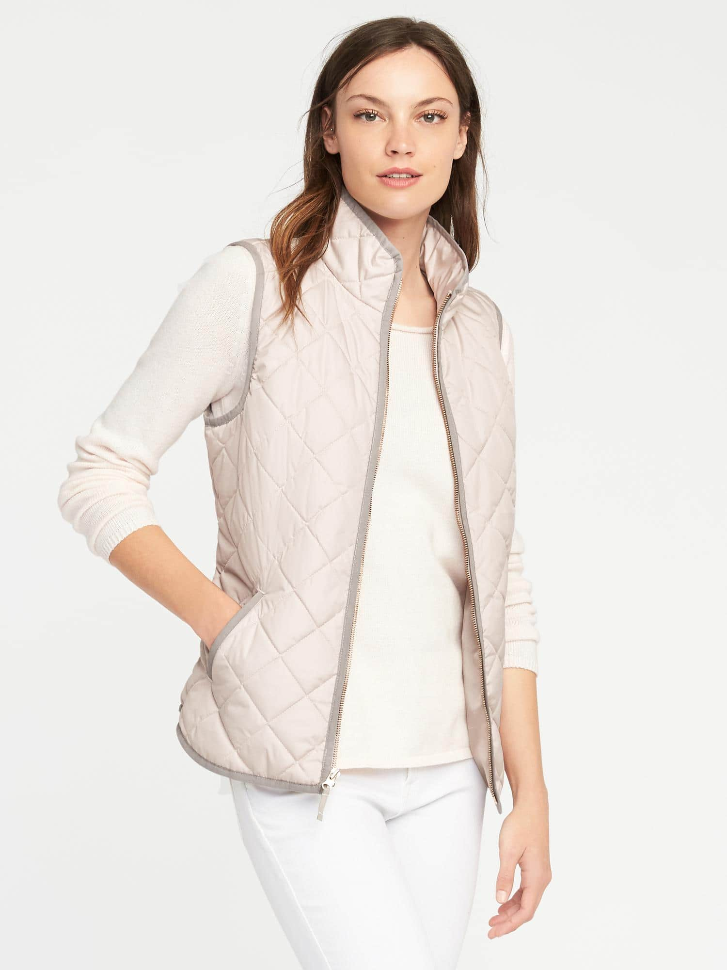 Old Navy Women's Quilted Plaid Vest $9, Quilted Solid Vest $12 + Free S/H $50+ (pre discount)