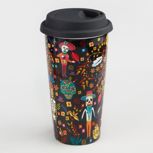 World Market 50% Off + 10% Off Select Halloween Items: Los Muertos Stoneware Travel Mug $4.04, Black & Gold Skeleton Platter $4.49 & More + Free S/H